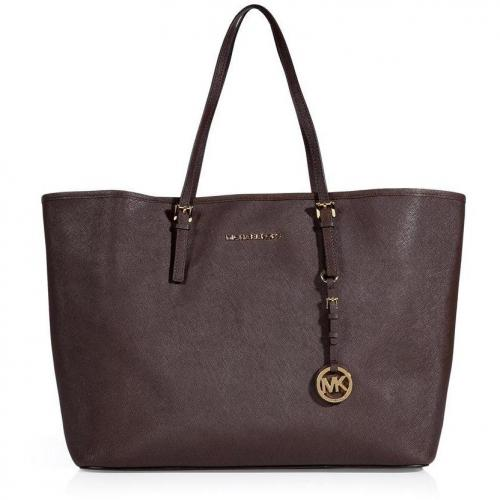 Michael Michael Kors Coffee Textured Leather Travel Tote