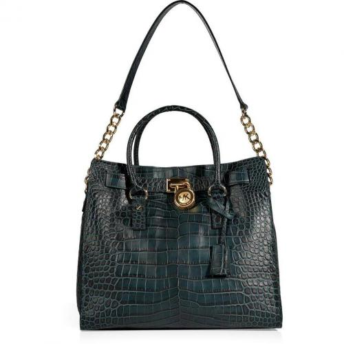 Michael Michael Kors Hunter Green Embossed Leather Tote