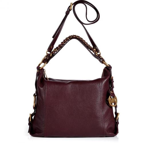 Michael Michael Kors Maroon Leather Tristan Shoulder Bag
