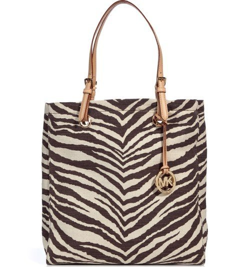 Michael Kors Tiger Print Jute Canvans Tote Bag Jet Set Item