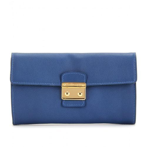 Miu Miu Fold-Over-Clutch Aus Leder Blau