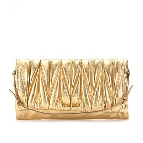 Miu Miu Matelassé Leder Clutch Gold / Metallic