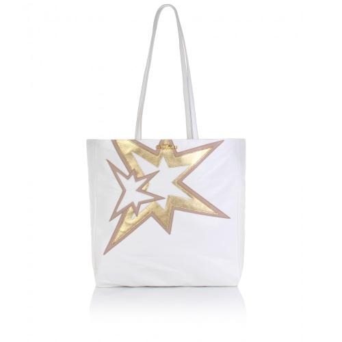 Miu Miu Star Applique Leather Shopper Weiß