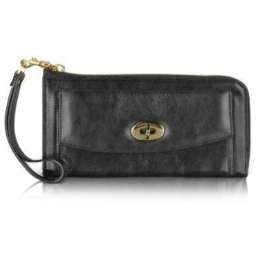 Moreschi Brieftasche mit Rundumreißverschluss und Twistverschluss aus Leder