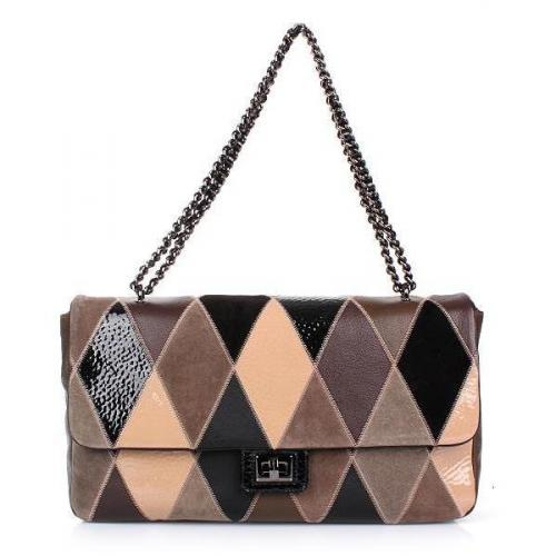 Moschino cheap and chic Shoulder Bag Leather Mix Black/Brown/Beige/Grey