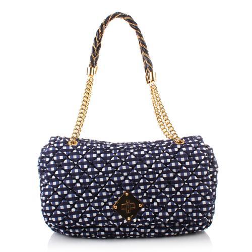 Moschino Shoulder Bag L Karomuster Blue
