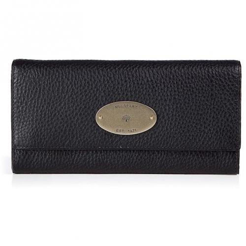 Mulberry Black Continental Natural Veg Tanned Flap Wallet