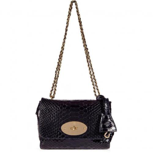 Mulberry Ink Blue Lily Silky Snake Shine Bag