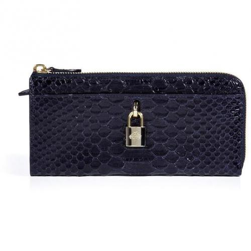 Mulberry Ink Blue Python Embossed Hetty Wallet