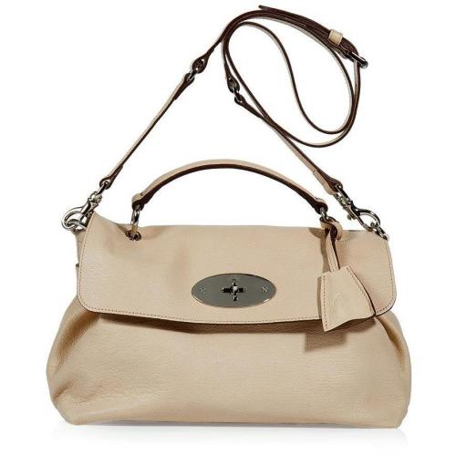Mulberry Pebbled Beige Postmans Lock Satchel Bag