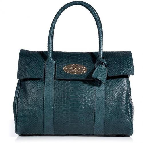 Mulberry Petrol Silky Snake Print Bayswater Bag