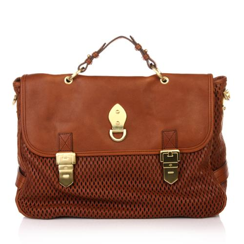 Mulberry Oversized Tillie Fox Brown Mesh Natural Leather and Suede Mix