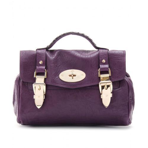 Mulberry Leder Buckle Bag im College-Stil Violett