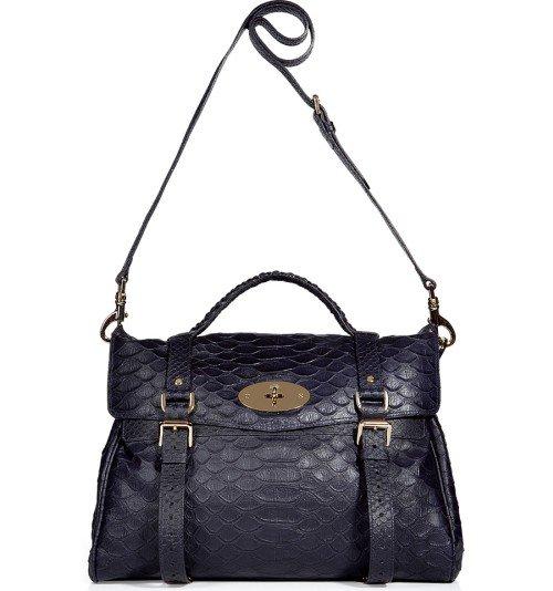 Mulberry Nightshade Blaue Python Print Oversized Alexa Tasche
