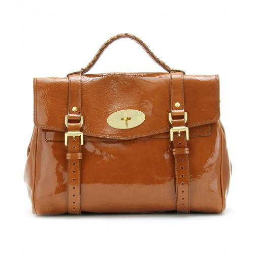 Mulberry Oversized Alexa Lackledertasche Braun