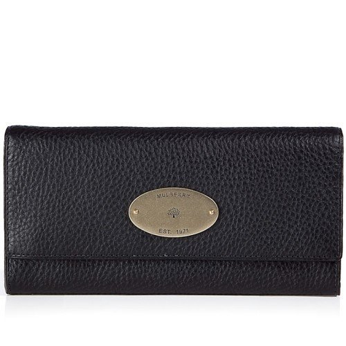 Mulberry Schwarze Continental Natural Veg Tanned Flap Portemonnaie