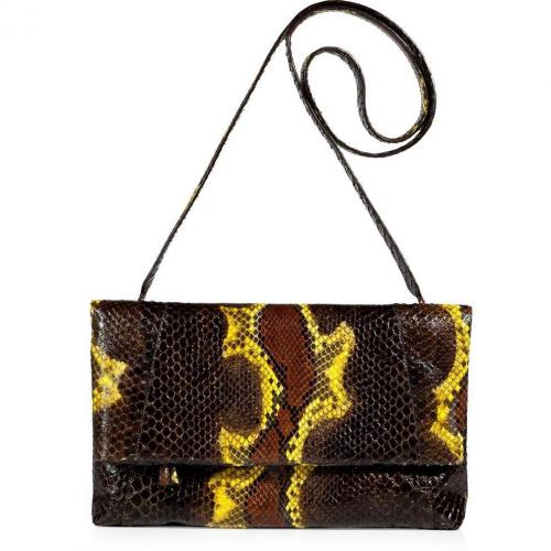 Nancy Gonzales Chocolate and Lemon Fold-Over Python Clutch