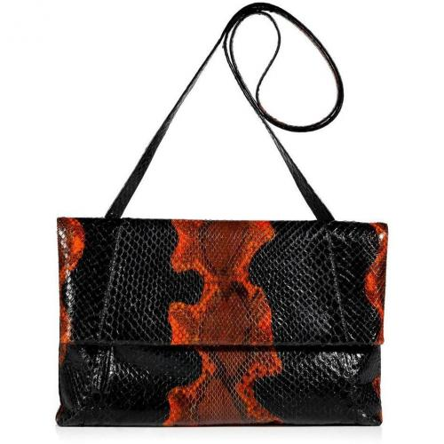Nancy Gonzales Onyx and Pumpkin Fold-Over Python Clutch