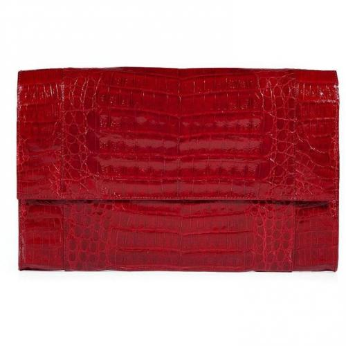 Nancy Gonzales Passion Red Crocodile Clutch
