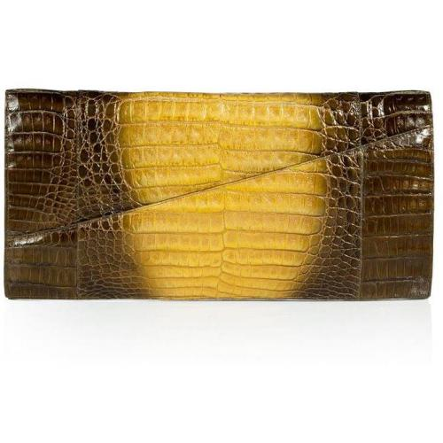 Nancy Gonzales Pearly Bronze and Yellow Crocodile Clutch