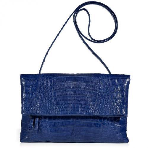 Nancy Gonzales Royal Blue Fold-Over Crocodile Clutch