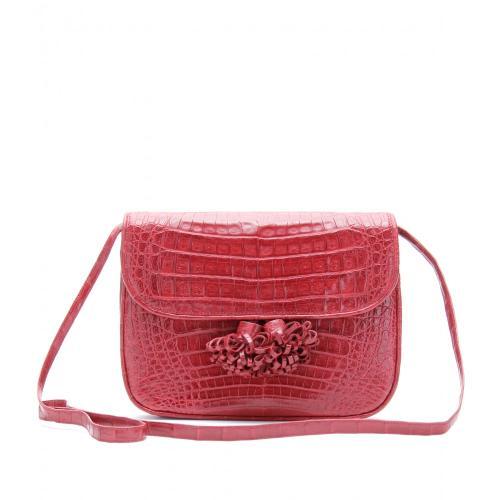 Nancy Gonzalez Schultertasche aus Krokoleder Rot
