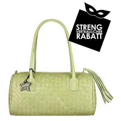 Nuovedive Pistaziengrüne geflochtene Handtasche aus Leder