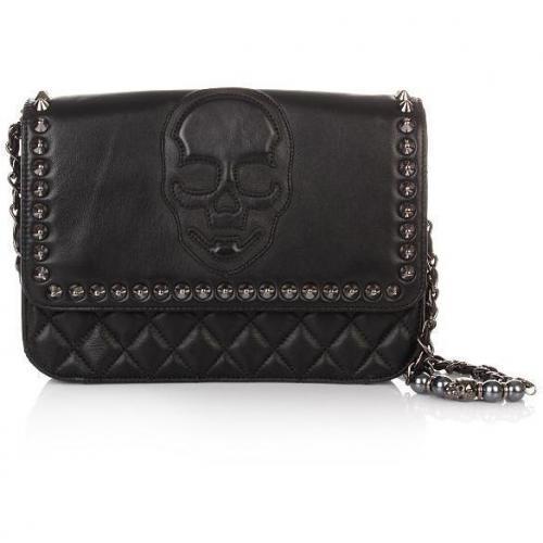 Philipp Plein Hand Bag Skull Black Calf Skin