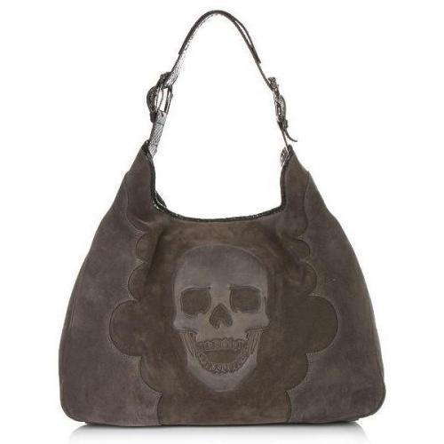 Philipp Plein Tote Bag Suede Skull Grey