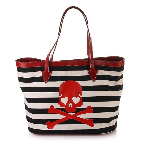 Philipp Plein Sailor Strandtasche schwarz / weiß