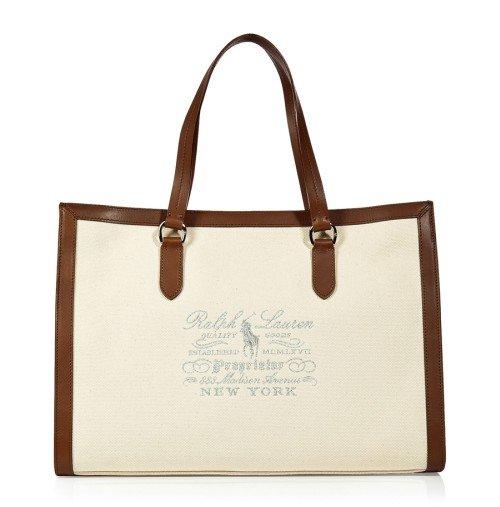 Polo Ralph Lauren Natural Canvas/Leder Tote Bag
