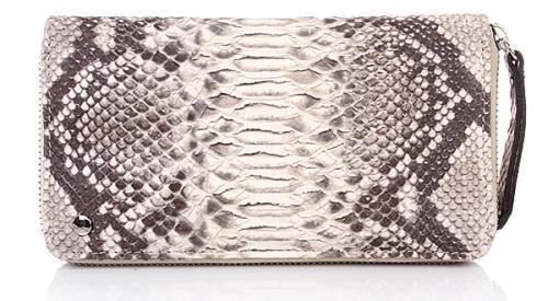 Abro Portemonnaie Leder Printed Snake Beige
