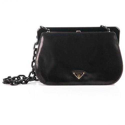 Prada Black Plain Coil Chain Round Bag