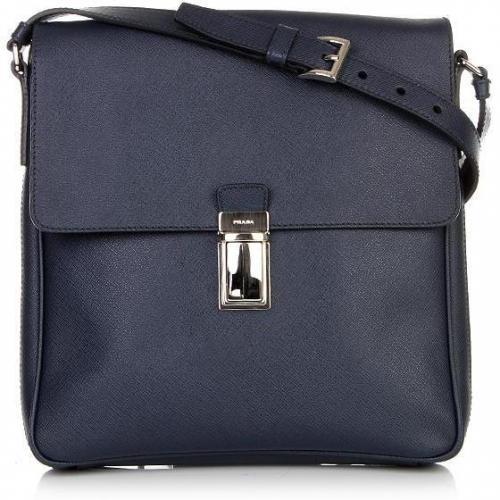 Prada Dark Blue Saffiano Shoulder Bag