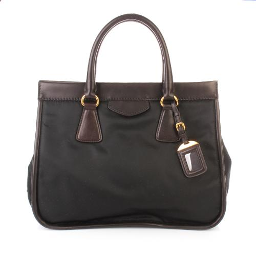 Prada Shopper Tessuto+City Calf Nero+Moro