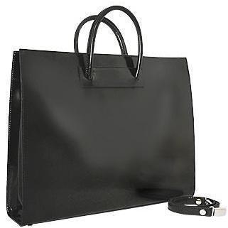 Pratesi Klassische polierte Damen-Aktentasche aus schwarzem Leder