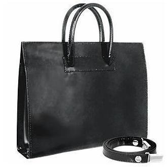 Pratesi Klassische polierte Damenhandtasche aus schwarzem Leder