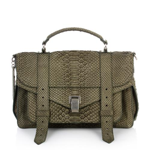 Proenza Schouler PS1 Medium Python Suede Military