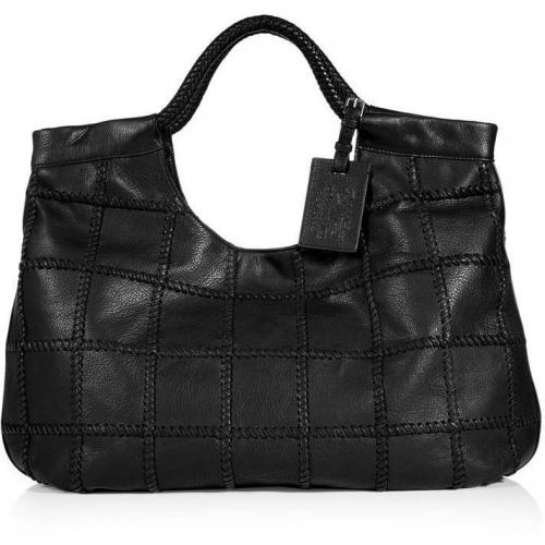 Ralph Lauren Collection Black Leather Laced Patchwork Double Handle Tote