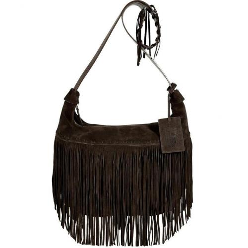 Ralph Lauren Collection Chocolate Suede Fringed Crossbody Bag