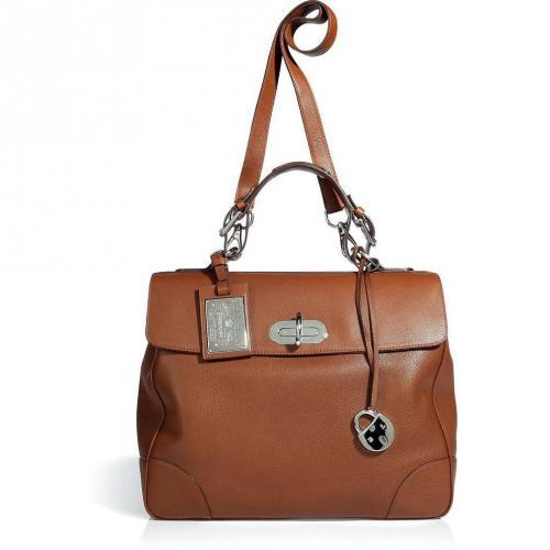 Ralph Lauren Collection Cognac Rustic Calf Large Tiffin Bag