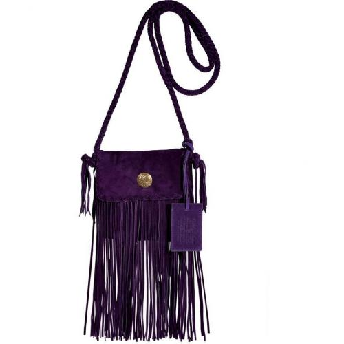 Ralph Lauren Collection Purple Suede Flat Crossbody Braided Bag