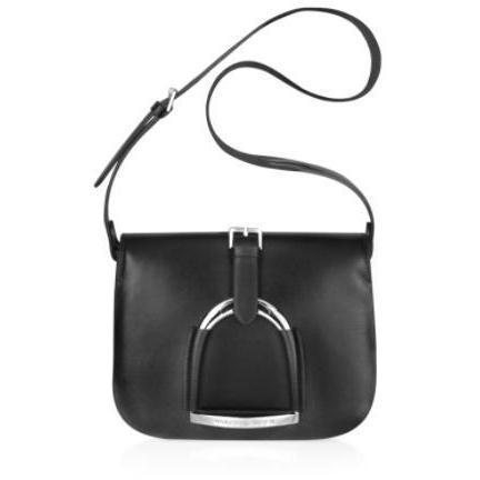 Ralph Lauren Collection Stirrup - Schultertasche aus schwarzem Leder
