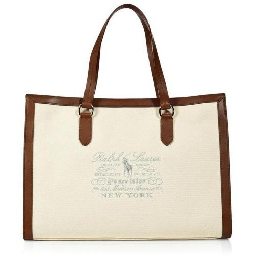 Ralph Lauren Natural Canvas/Leather Tote