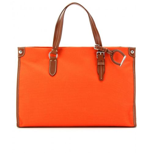 Ralph Lauren Canvas Shopper mit Lederdetails Orange