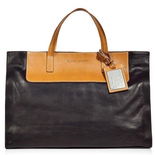 Polo Ralph Lauren Schwarze/Chestnut Nappa Tote Bag