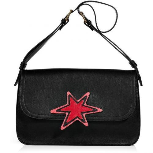 Rika Black Shoulder Bag with Red Star Lara