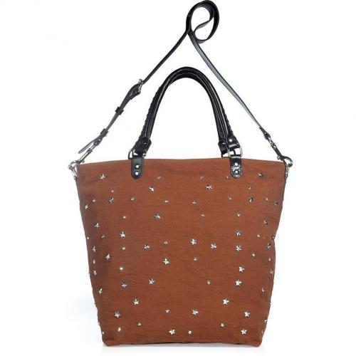 Rika The Loulou Amber Canvas Bag With Star Studs