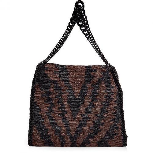 Roberto Cavalli Teak&Black Animal Woven Straw Bag