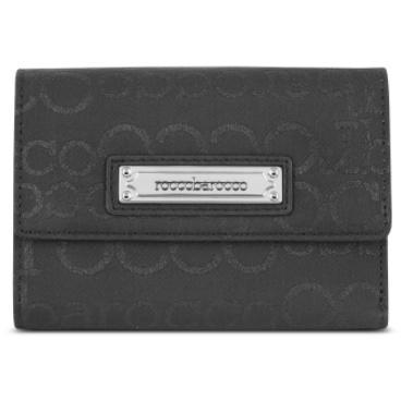 Roccobarocco Brieftasche aus glänzendem Canvas und Leder mit Logo